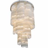 Large Fancy Irregular Water Column Crystal Ball Pendant Light for Hotel Lobby