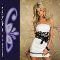 ML17935 Wholesale Most Innovative Lace Trim Short White Party Dresses