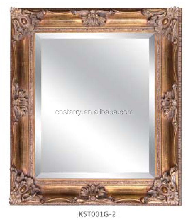 oro antiguo de madera marco del espejo de pared con ganchos de ...