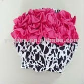 Beautiful New Style!! Baby Cow Cotton Bloomer/Diaper Cover w Hot Pink Lace