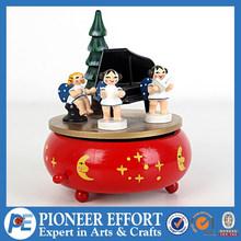 christmas wood music box movements, angel decorated rotating music box