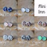 2015 Hot Sale Wholesale Colored Mini Chunky Druzy Stone Jewelry Stud Earrings
