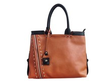 Everyday Chic Saddlebag Business Plain Leather Tote Bag, Camel Brown