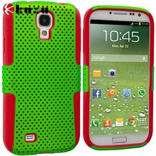 Red & Neon Green Hybrid Mesh Hard_Soft Case Cover for Samsung Galaxy S