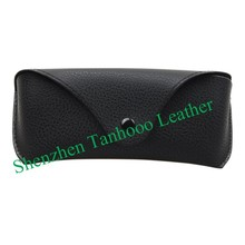 Classical glasses leather case black reading glasses cases customized Shenzhen