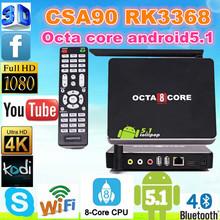 Factory Price!!! google Octa Core CSA90 Android 5.1 smart tv box Pre-installed kodi1080p 3D WiFI Octa Core CSA90 Android TV Box