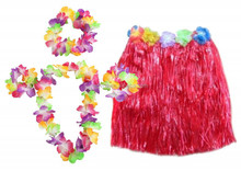 Hot sale hawaii costume red color lovely hawaii hula dance skirt with flower decoration BWG-2089