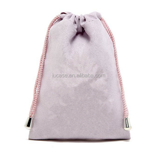 Top quality promotional suede drawstring bag for teenagers