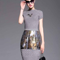 New Products 2015 Gray Color Knitting X style Dress 5Q04 Clothing Manufacturer
