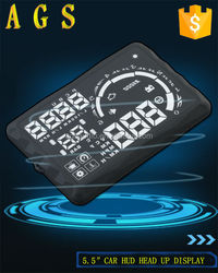 "2015 new 5.5"" car HUD S5 head up display for Kia RIO show Rpm Speed Overspeed Warning Battery Voltage Water Temp OBD"