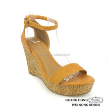 TPR sole high quality competitive price yellow ankle strap summer open toe ladies' wedge sandals