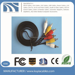 High quality 3 RCA to 3 RCA AV cable Gold Plated for DVD,TV,STB