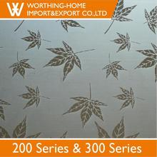 Top Quality 304 Etching Embossed Stainless Steel Sheet/Plate For Bathroom