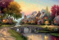 Christmas beautiful landscape paintings, European-style village festivals landscape river water, home wall decoration pictures