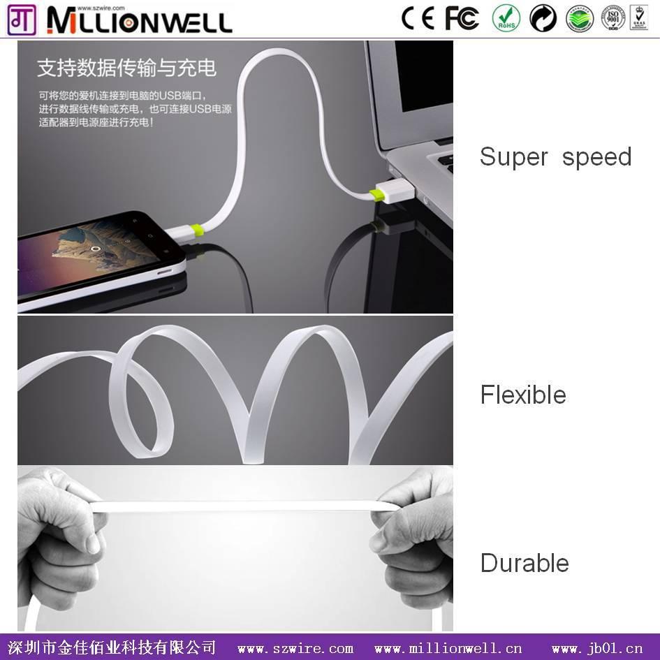 Millionwell 2015 новые продукты гибкие плоским usb зарядное устройство кабель, huawei мобильные телефоны кабель цен в китае