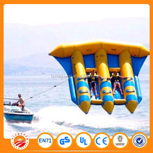 Extremely exciting flying on water inflatable yellow banana boat