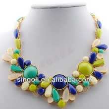 Bohemian Style high-end imitation candy fake collar necklace collage color blocking pastel bevy resin bead steampunk jewelry