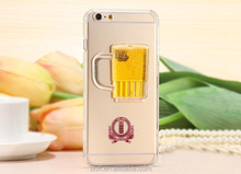 Newest popular 3d liquid beer and wine glass phone case cell phone case cover for iphone6 6 plus