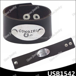 COWGIRL western genuine leather new design wide leather bracelet straps