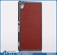 Plastic Case for Sony Xperia Z4 with Leather Skin, Chromed Case for Xperia Z4