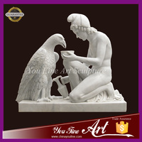 Hand-carved Nature Marble Figure Statue with Eagle