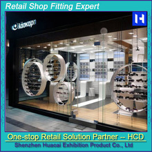 Worldwide brand shop interior decoration , class quality bespoke sunglasses store equipment , retail optical shop fitting