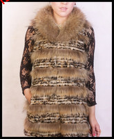 Wholesale Fashion Animal Knitted Vest Rabbit And Raccoon Fur Vests From China