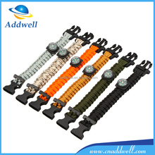 Outdoor climbing paracord emergency survival bracelet with flint compass