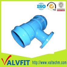 different size much longer life effecient handling waterworks pipelines Double Socket Flange Fittings Ductile iron reducing tee