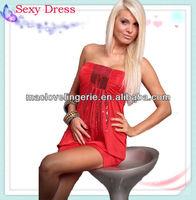 New Short Dress Sequins Detail Sleeveless Tube Dress Sexy Mini Dress Red 4 Colors