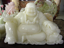 Extra quality Snow White Onyx laughing buddha statues, Chinese souvenir gift