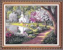 art and craft 100% handmade lake scene diy diamond painting