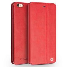 QIALINO High-End Handmade Custom-Tailor Handmade Leather Flip Open Case For Iphone 6