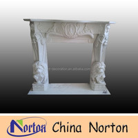 hot sale artificial lion statue marble fireplace surround NTMF-F367S