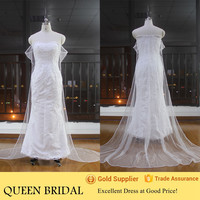 Real Pictures Strapless Lace Wedding Dresses Removable Skirt