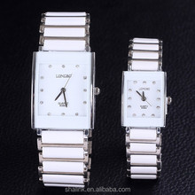New innovative fashion white square ceramic watch for lovers