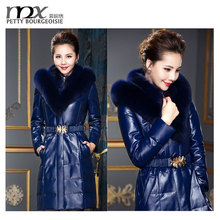 Hot selling winter short real leather down coat with fur collar