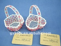 Heart shaped/Hexagonal wire decoration with red pearl small hanging gift basket