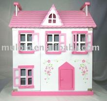 MLL5518 new style wooden pink deluxe doll house and furnitures