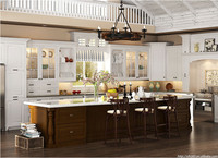 Solid wood kitchen cabinet Modern red oak Modular Fitted kitchen Design
