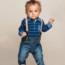 BABY CLOTHING SETS! NEW STYLE STRIPES POLO ROMPER AND SUSPANDERS JEANS PANTS