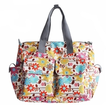 6pcsBaby Diaper Duffle Bag Fashion Dots Flower Printed Top Handle Travel Baby Bag / Diaper Tote Bag w/ Changing Pad And Zippered