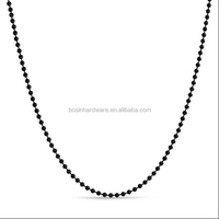 Fashion High Quality Metal Iron Black Plated Ball Chain Necklace
