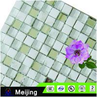 Popular bathroom dolphin glass mosaic for 3d flooring tiles