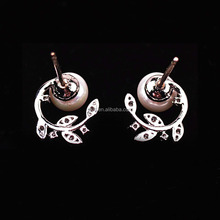 South Korea imported jewelry genuine lady lovely flowers pearl earrings Silver Needle
