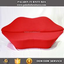 Living Room Furniture Red Lip Shape Two Seats Sofa