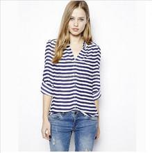 2015 Navy blue stripes women shirt online shopping