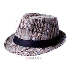men tartan jazz fashion fedora hats wholesale