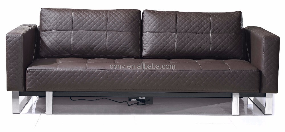 Black faux leather transformer electric sofa bed for sale for Black sofa bed for sale
