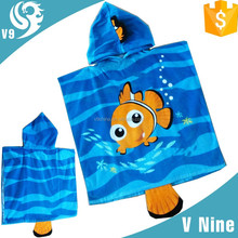 2015 100% cotton reactive printed poncho hooded beach towel